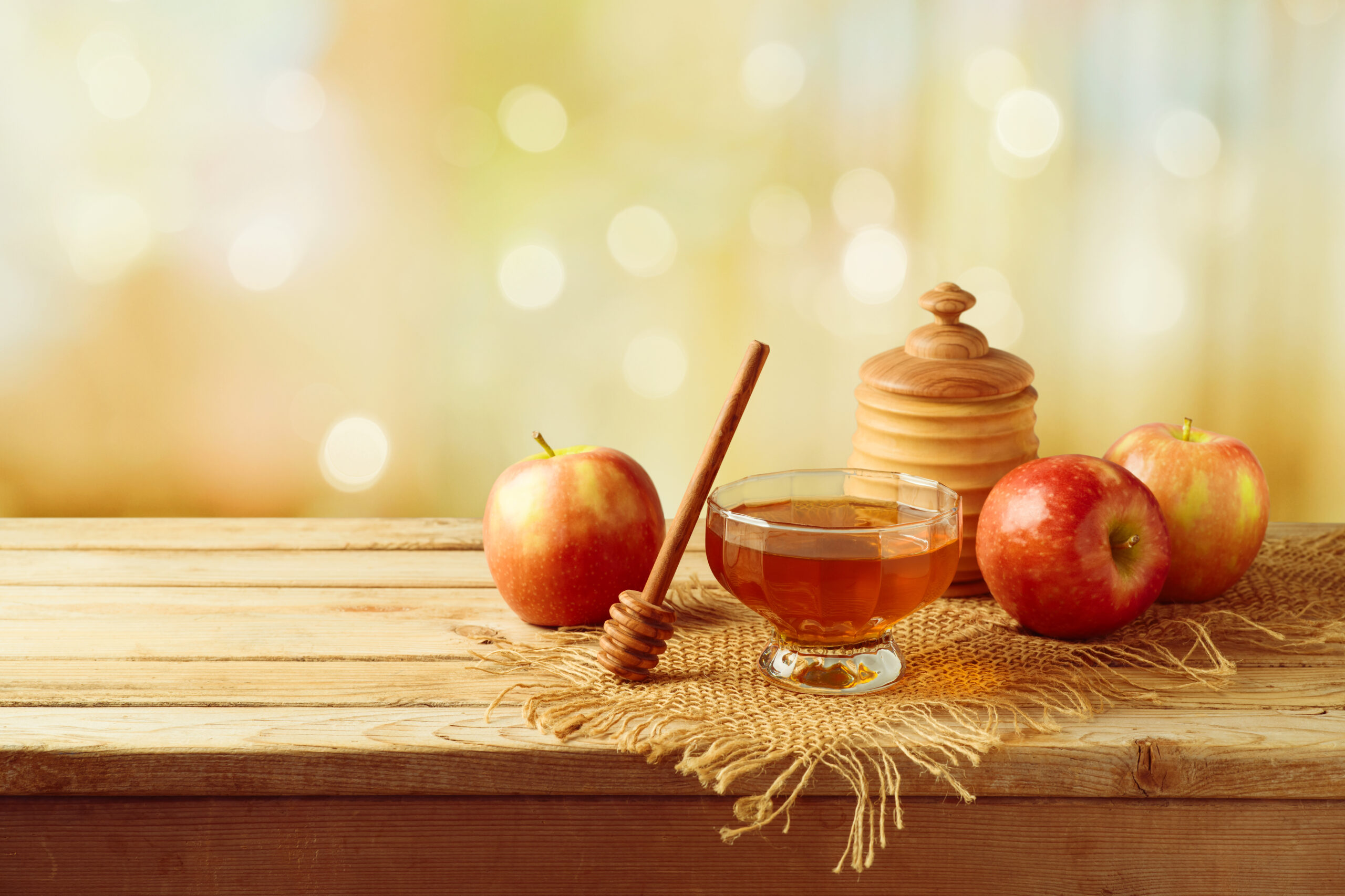Honey,And,Apples,On,Wooden,Table.,Jewish,Holiday,Rosh,Hashanah